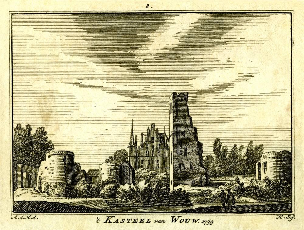 Kasteel Wouw in Wouw. Tekening Abraham de Haen, gravure Hendrik Spilman (Uit: Het Verheerlykt Nederland, Isaac Tirion, 1745/1774)